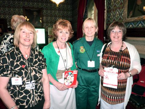 Anne Jolly, founder of SADS UK, Angela Morris, SADS UK north west coordinator, Sara Harris of British Heart Foundation and Linda Boden at the parliamentary reception