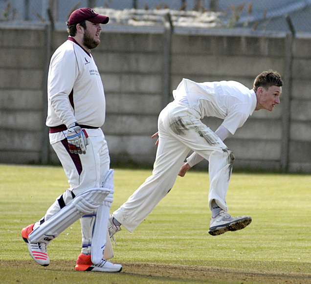 Sam Barnes, right, was Winnington Park's leading-scorer at the crease when they amassed their biggest total of the Cheshire League campaign at Stretton